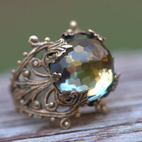 Autumn Swarovski Ring Vintage Rare faceted Jewel, Adjustable, classic neutral, rustic green gold amber green brown pastel Celadon