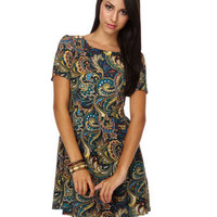 Paisley Dress - Print Dress - Short Sleeve Dress - Colorful Dress - $34.00