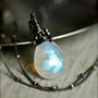 Rainbow Moonstone Necklace on Oxidized by PoppyLayneStudio on Etsy