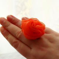 Orange Chiffon Rose Ring Expandable - Ready To Ship