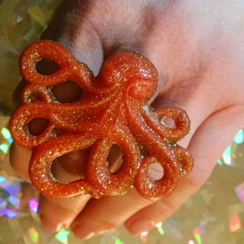 Orange and Black GLITTER  Resin Octopus ADJUSTABLE RING Fun Jewelry