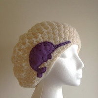 Cream  Slouchy Hat with Lilac Narwhal - Hats