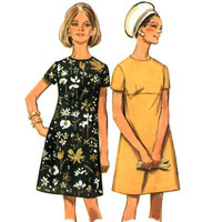 Vintage Sheath Dress Sewing Pattern 60s Empire Waist Princess Bust 36