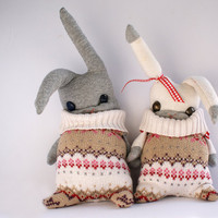 Mr&Mrs 'Matching Jumpers' bunny rabbit plushies