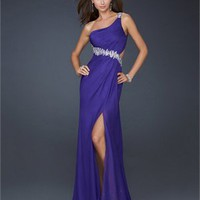 Chiffon Column One Shoulder with Beadings and Sexy High Slit Open Back Long Prom Dress PD2141 Dresses UK