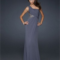 Long Chiffon One shoulder with Beadings Open Back Prom Dress PD2139 Dresses UK
