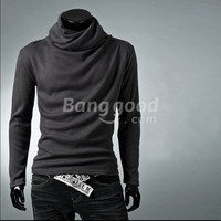 New Stylish Plain Slim Turtle Neck Long Sleeve Men's T-Shirts Free Shipping!  - US$10.17