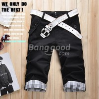 Casual Summer Plaid Rolled-up Cotton Men's Shorts Pants Free Shipping!  - US$13.48