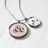 Perfect Punctuation Necklace - commas ampersand grammar english teacher resin pendant on sterling silver chain - vintage paper jewelry