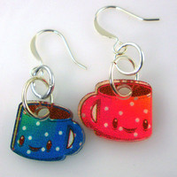 Coffee Mug Earrings 20 Percent Off by acrylicana on Etsy