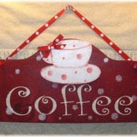 Shabby Cottage Coffee Cup Red Sign Custom by mycountrycottagesign