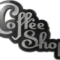 RETRO COFFEE SHOP Sign Wood and Aluminum Iron on by studio724