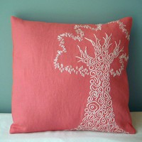 Chic Coral Pink Tree Pillow by MaDahms on Etsy