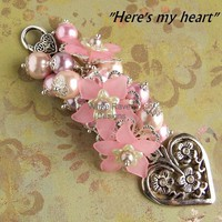 "Key - Handbag Charm. ""Here's My Heart"" Pretty pinks with lucite Flowers. - by WhiteRavenDesigns on madeit"