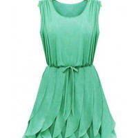 Round Neck Green Round Neck Sleeveless Slim Fit Flouncing Fold Dress  Other type  Solid, Vintage, Classic Fit Dress, Ladylike dress Pop  style 823dr0002-green in Dresses Indressme