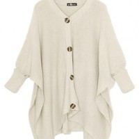 V-Neck  Beige bat sleeve loose shrug sweater  cardigan type  Bat sleeves Pop  style zz91700702 in  Indressme