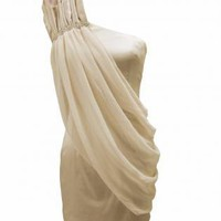 One Shoulder Dress with Chiffon Overlay&Shoulder Detail