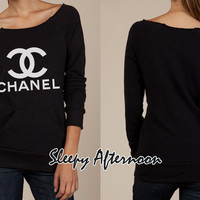 White Chanel - Women Eco Fleece Sweatshirt -  Black