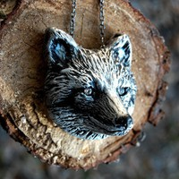 Woodland Fantasy Whimsical Silver Fox Necklace by seaofbees