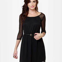 Little Black Dress - Belted Dress - Raglan Dress - $42.00