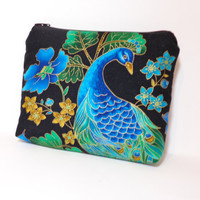 Medium Zipper Pouch Cosmetic Bag Pencil Case  Peacock Black Plume