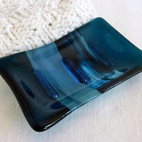 Fused Glass Soap Dish in Dark Aquamarine