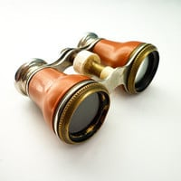 Antique Binoculars Opera Glasses Theater Small Chrome Brass Orange