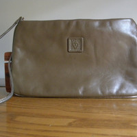 taupe vintage clutch