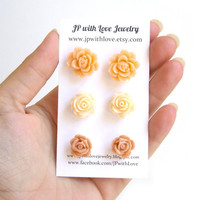 Peach Stud Earrings - Flower Stud earrings