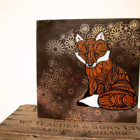 Fox Zentangle Original Painting  on Wood