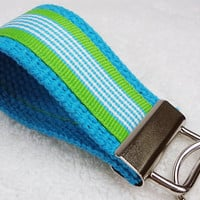 Mini Keyfob Keychain Keylette Key Ring - Stripes Ribbon Webbing Blue Party Favor Gift Stocking Stuffer Small - Porte-clés - Ready to ship