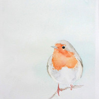 Robin Original Watercolor Painting 8in x 10in - Nursery Art - Bird Illustration