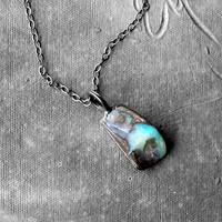 Opal Pendant Copper Necklace Charcoal Blue Green Fire Pebble Gemstone Artisan Handmade