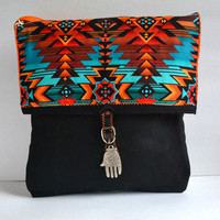 Aztec Canvas Bag Purse with Leather - Aztec - Mayan Canvas Bag - Adjustable