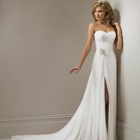 2011 Maggie Sottero Bridal - Ivory Chiffon Gathered Strapless Sweetheart Marion Wedding Gown - 0 - 28 - Unique Vintage - Bridesmaid &amp; Wedding Dresses