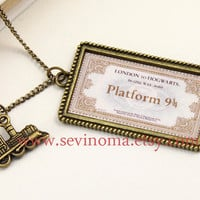 Harry Potter, Hogwarts Express, Hogwarts Express Train Ticket necklace