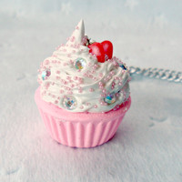 Kawaii Cupcake Charm Necklace, Strawberry :)