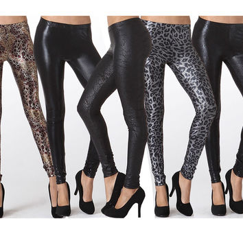 Sexy Banded Waist Ankle Length Stretch Foiled Gloss Skinny Leggings