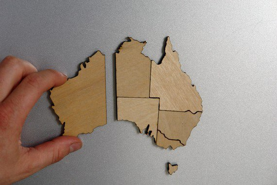 Australia Magnetic Map Puzzle Birch Plywood by PipeDreams2010