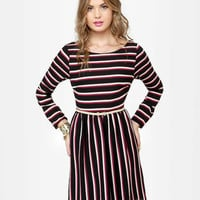 Cute Striped Dress - Long Sleeve Dress