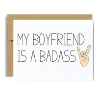Naught boyfriend valentines card - my boyfriend is a badass kraft rocker hands for him
