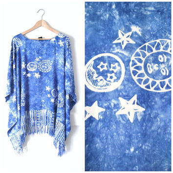 90s tie dye FRINGE caftan / vintage early 90s bohemian ESOTERIC long blue FESTIVAL poncho shirt beach cover up
