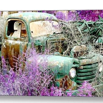 Truck Canvas Gallery Wrap, Vintage Car Photograph, Purple Green Pastel Picture, Mint Country Automobile Print Home Decor Large Pickup Rusted