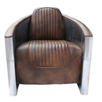 Aviator Tomcat Chair - Destroyed Raw & Spitfire Upholstery - Timothy Oulton