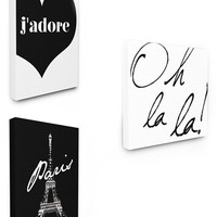LulusimonSTUDIO Paris Canvas Wall Art - White (Set of 3)