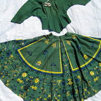 50s Maya de Mexico Mexican souvenir CiRCLE skirt & BLOuSE hand painted beaded full cotton blouse nwt