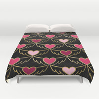 Golden Wings of Love Pattern Duvet Cover by Lisa Argyropoulos