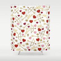 Cupid Love (white) Shower Curtain by Lisa Argyropoulos