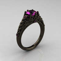 Classic 14K Black Gold 1.0 Carat Amethyst Designer Lace Ring R175-14KBGAM