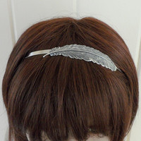 Steampunk Feather headband- Metal Headband- Silver Feather- Twilight Inspired- Breaking Dawn